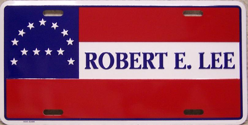 Robert E Lee Flag Aluminum License Plate Confederate States of America thumbnail