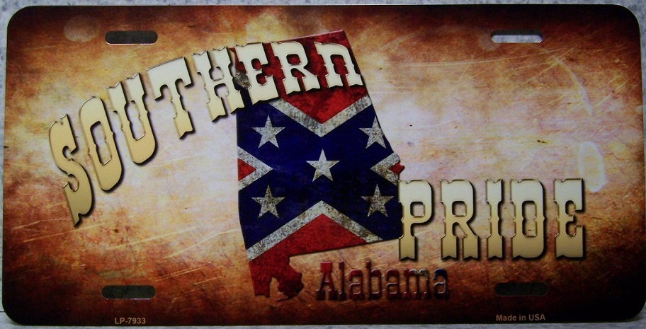 Alabama Southern Pride Aluminum License Plate Confederate States of America thumbnail