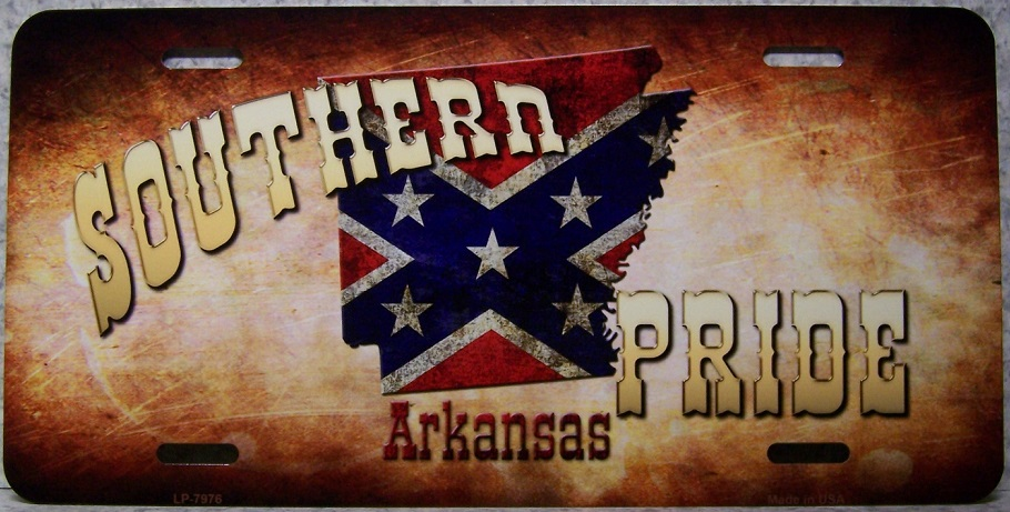 Arkansas Southern Pride Aluminum License Plate Confederate States of America thumbnail