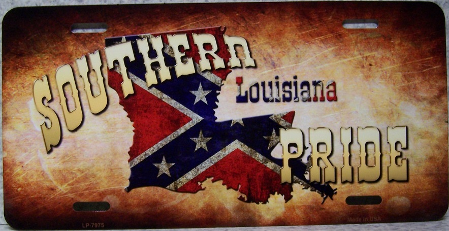Louisiana Southern Pride Aluminum License Plate Confederate States of America thumbnail