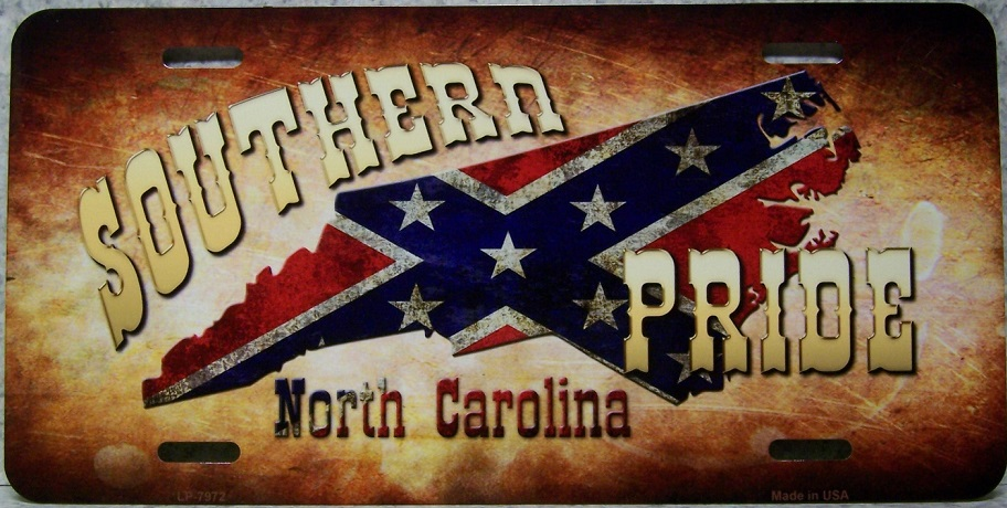 North Carolina Southern Pride Aluminum License Plate Confederate States of America thumbnail