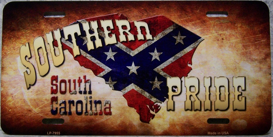 South Carolina Southern Pride Aluminum License Plate Confederate States of America thumbnail