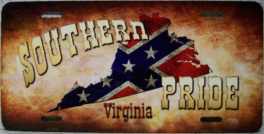 Virginia Southern Pride Aluminum License Plate Confederate States of America thumbnail