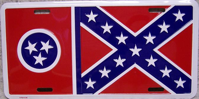 Tennessee State Flag Aluminum License Plate Confederate States of America thumbnail