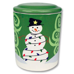 Snowman and Lights Ceramic Cookie Jar thumbnail