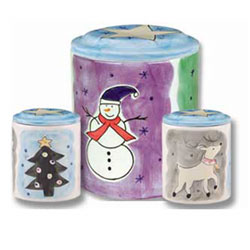 Snowman Tree and Deer Ceramic Cookie Jar http://lionheart-designs.com/inventory.shtml