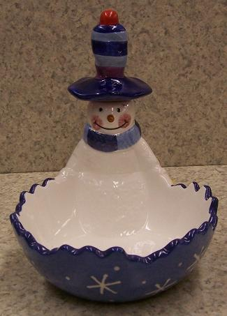 Snowman Ceramic Party Dip Dish thumbnail