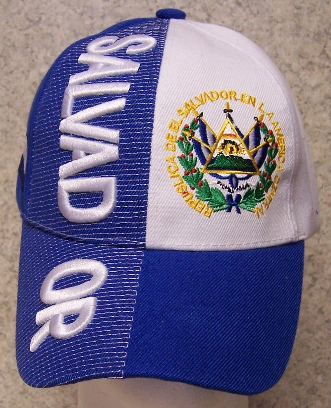 El Salvador Adjustable Size International Flag Baseball Cap thumbnail