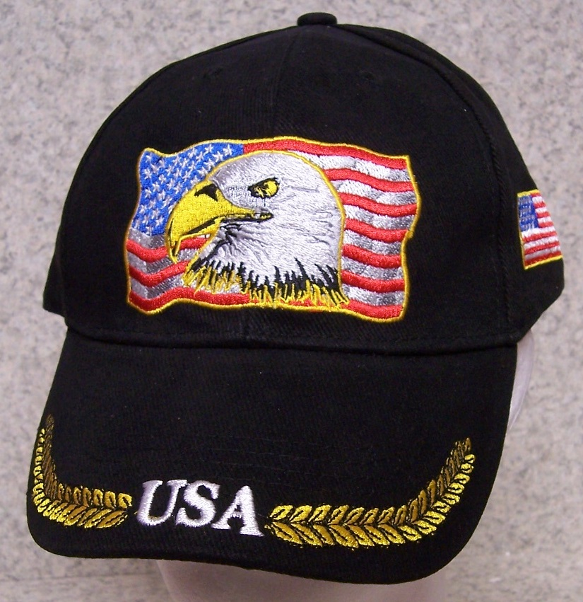 Flag and Eagle Patriotic Adjustable Size Baseball Cap thumbnail