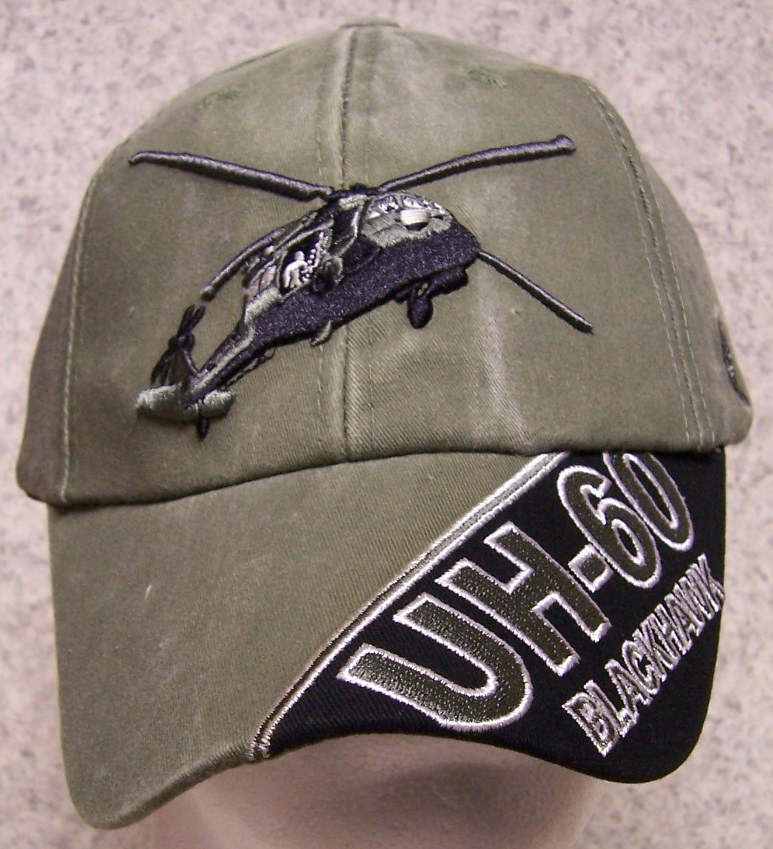 UH-60 Blackhawk Helicopter Adjustable Size Military Baseball Cap thumbnail