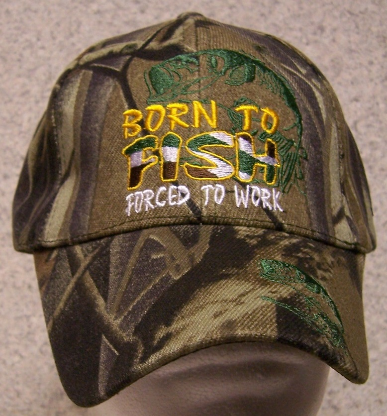 Born to Fish Adjustable Size Sportsman Baseball Cap thumbnail