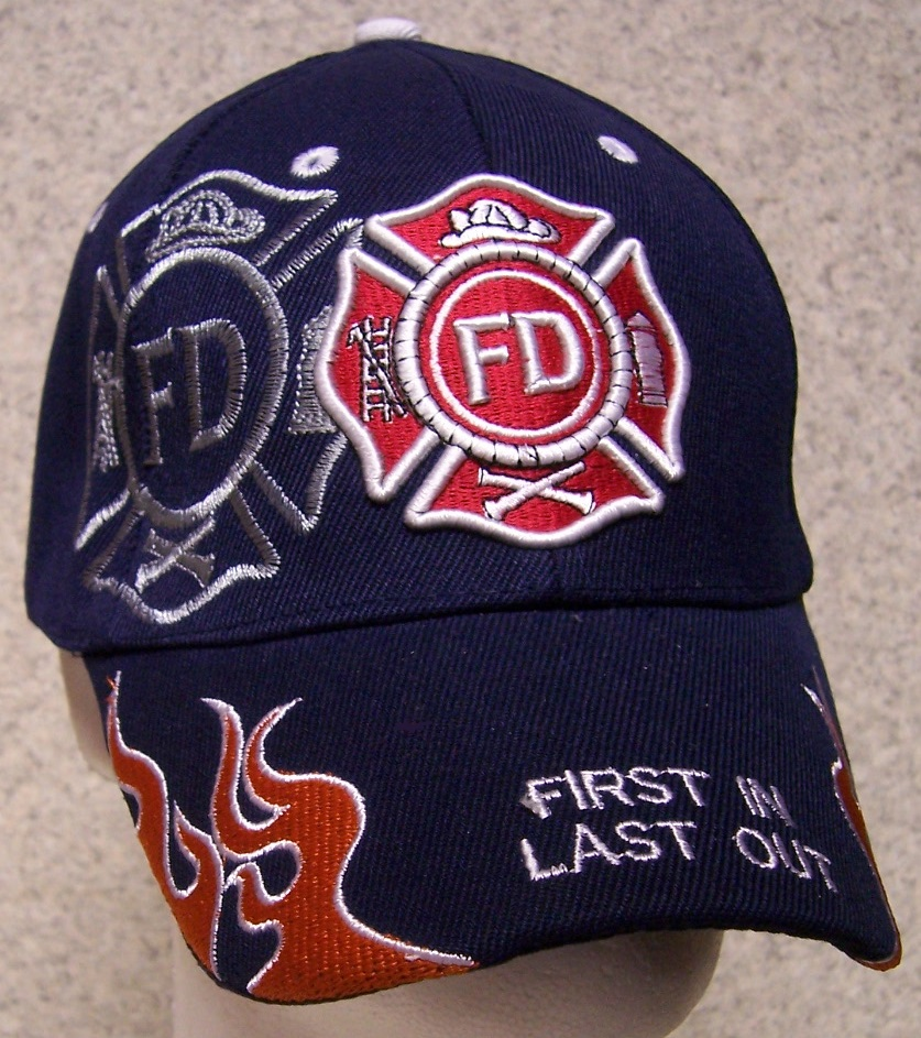First In Last Out Adjustable Size Fire and Rescue Baseball Cap thumbnail