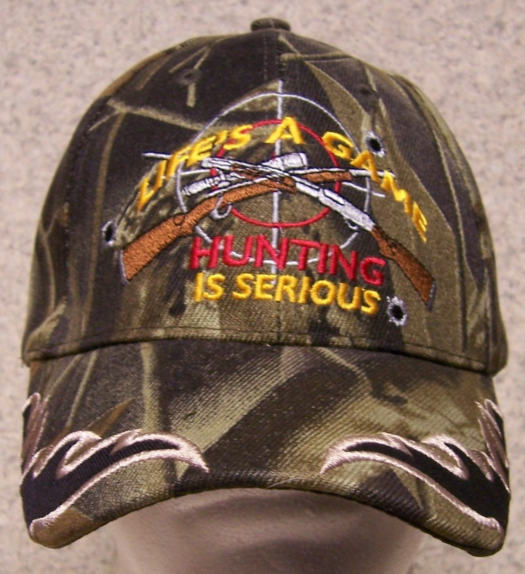Life is a Game Hunting is Serious Adjustable Size Sportsman Baseball Cap thumbnail