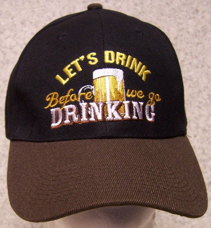 Lets Drink before we go drinking Novelty Adjustable Size Baseball Cap thumbnail