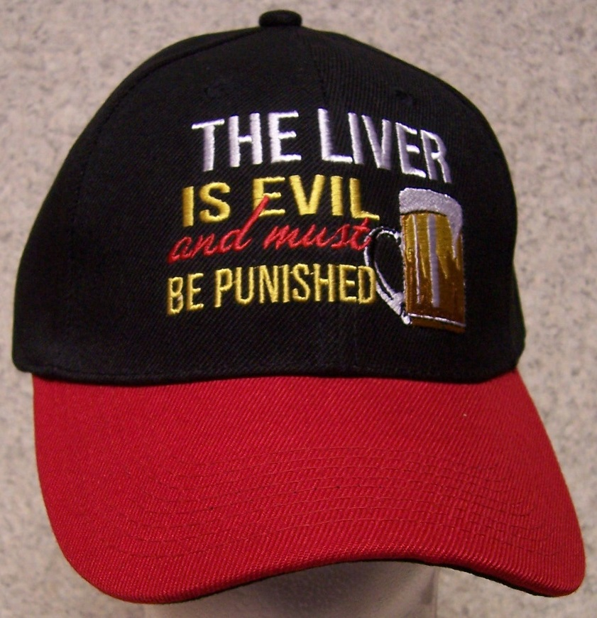 The Liver is Evil and must be Punished Novelty Adjustable Size Baseball Cap thumbnail