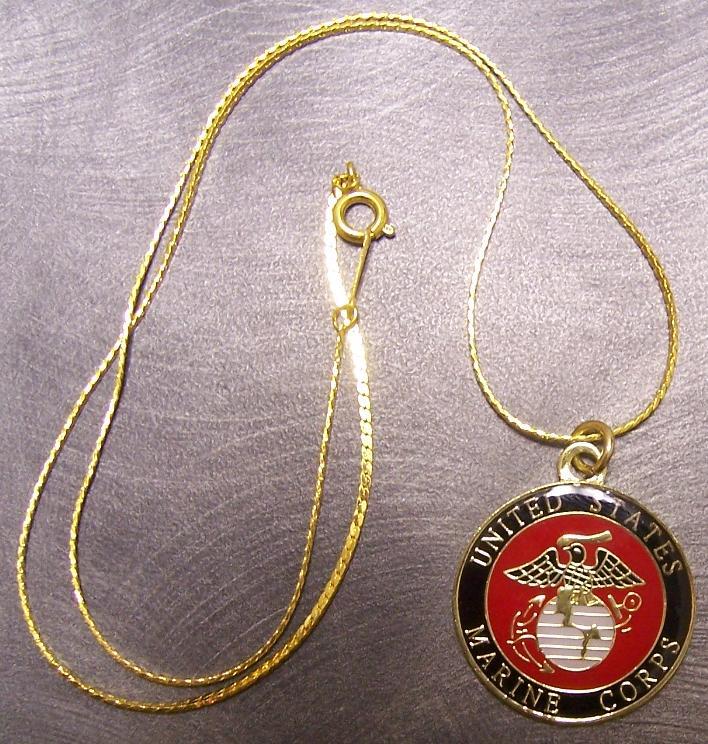 Military Necklace U s Marine Corps 18KRGP Chain New