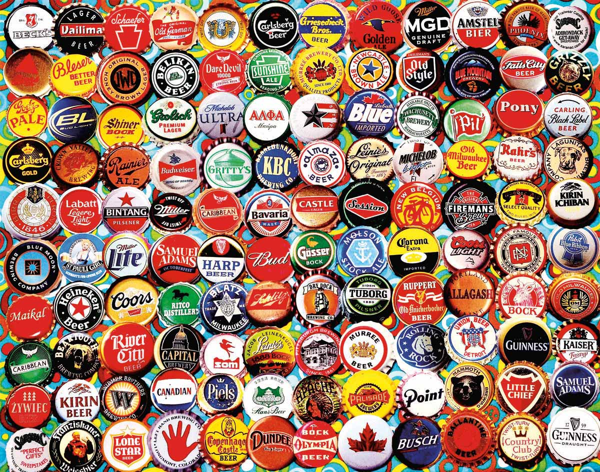 Lionheart designs international beer bottle caps jigsaw for What to make with beer bottle caps