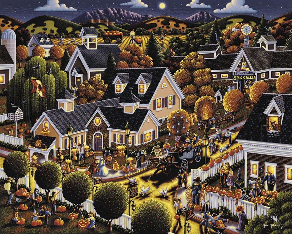 500 piece seasonal jigsaw puzzle All Hallows Eve by artist Eric Dowdle manufacturered in the USA by Dowdle Folk Art