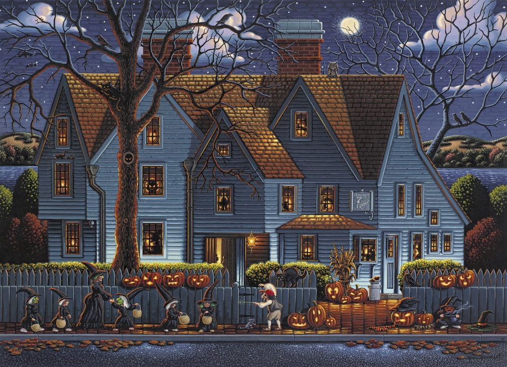 1000 piece seasonal jigsaw puzzle House of the Seven Gables by artist Eric Dowdle manufacturered in the USA by Dowdle Folk Art