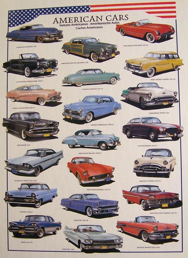 Jigsaw puzzle car 1950 39 s american cars 1000 piece new made for Best american classic cars