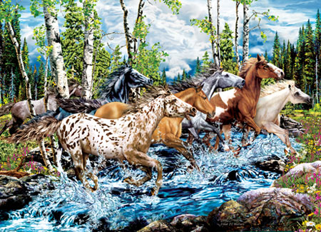 Horse Puzzles on Jigsaw Puzzle Animal Horse River Run 500 Pc   Ebay
