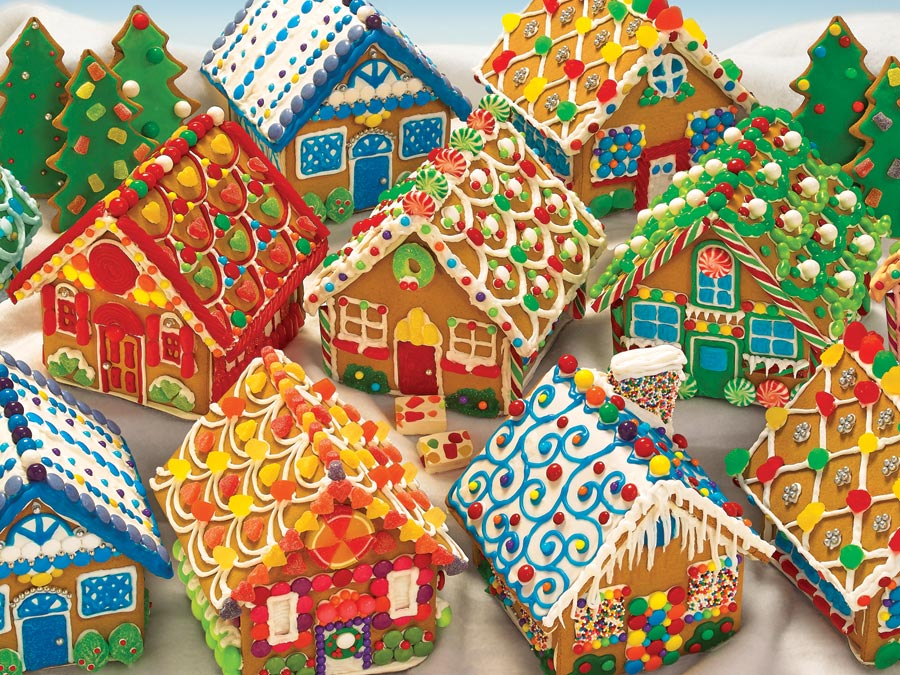 400 piece seasonal jigsaw puzzle Gingerbread Houses manufacturered by Outset Media