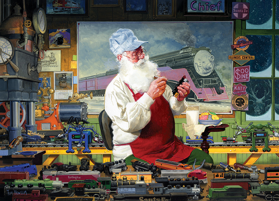 1000 piece seasonal jigsaw puzzle Santa's Hobby by artist Tom Newsom manufacturered by Outset Media