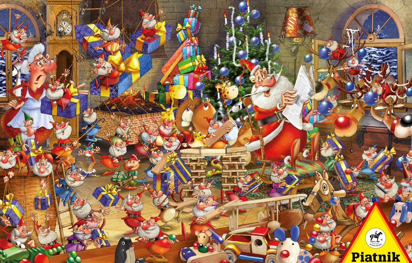 1000 piece seasonal jigsaw puzzle Christmas Chaos by artist Francois Ruyer manufacturered by Piatnik