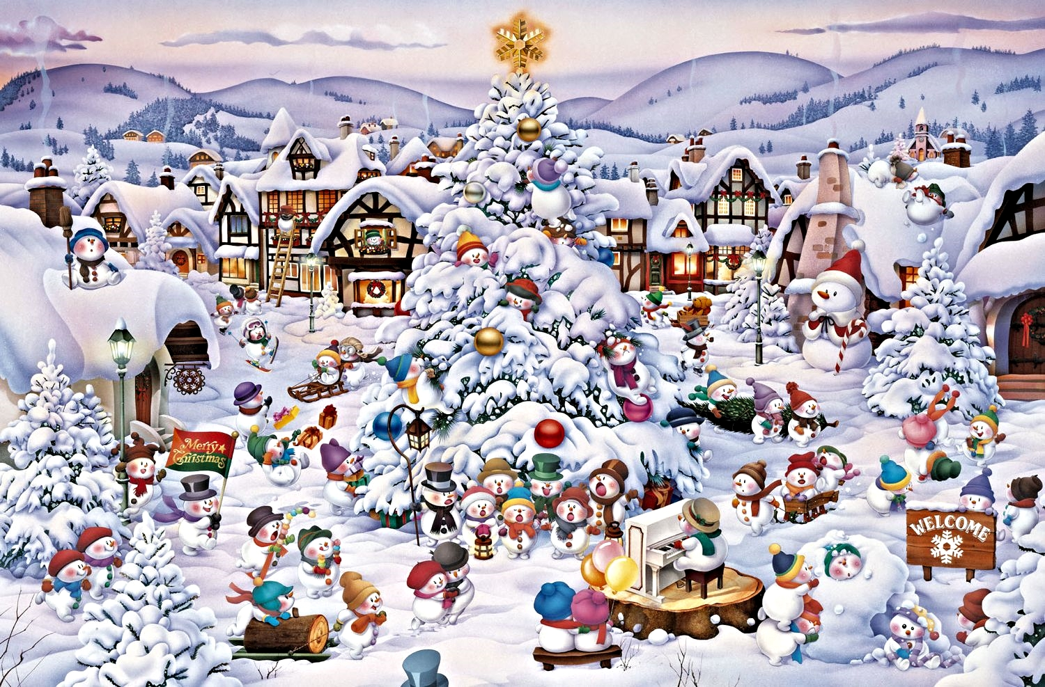 1000 piece seasonal jigsaw puzzle Christmas Choir by artist Yoshina Kanda manufacturered by Piatnik