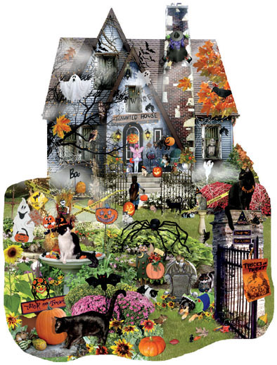 1000 piece freeform seasonal jigsaw puzzle Halloween Spooky House by artist Lori Schory manufacturered by Sunsout