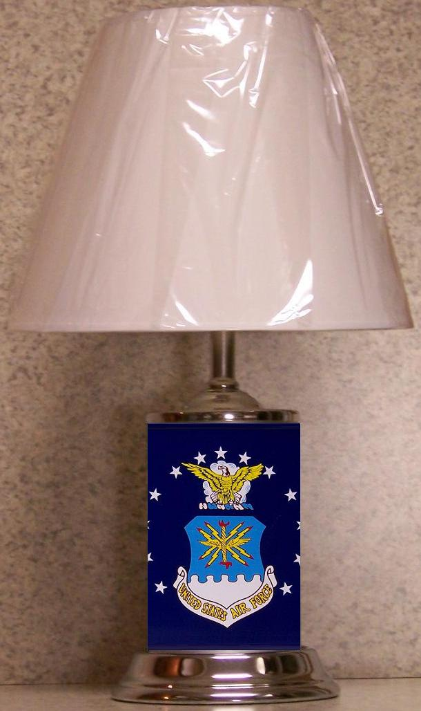 Military Table Lamp U S Air Force logo NEW with shade