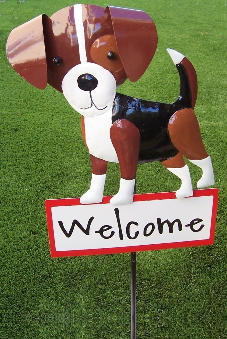 Garden Lawn Yard Decoration animal dog Beagle sheet metal pick stake NEW