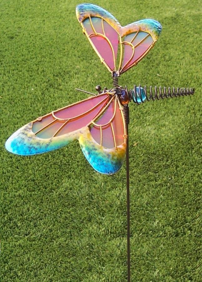Garden Lawn Yard Decoration bird Blue Butterfly glass /& metal pick stake NEW