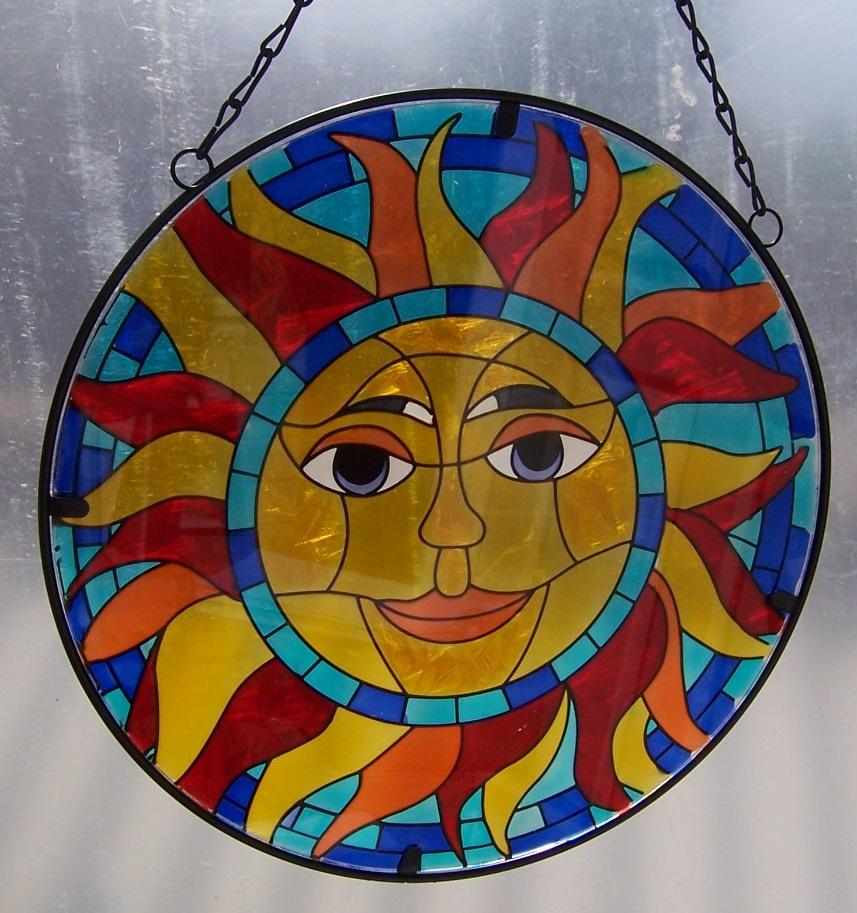 "Suncatcher Hanging Painted Glass /& Metal Fairy NEW 10 1//2/"" diameter A"