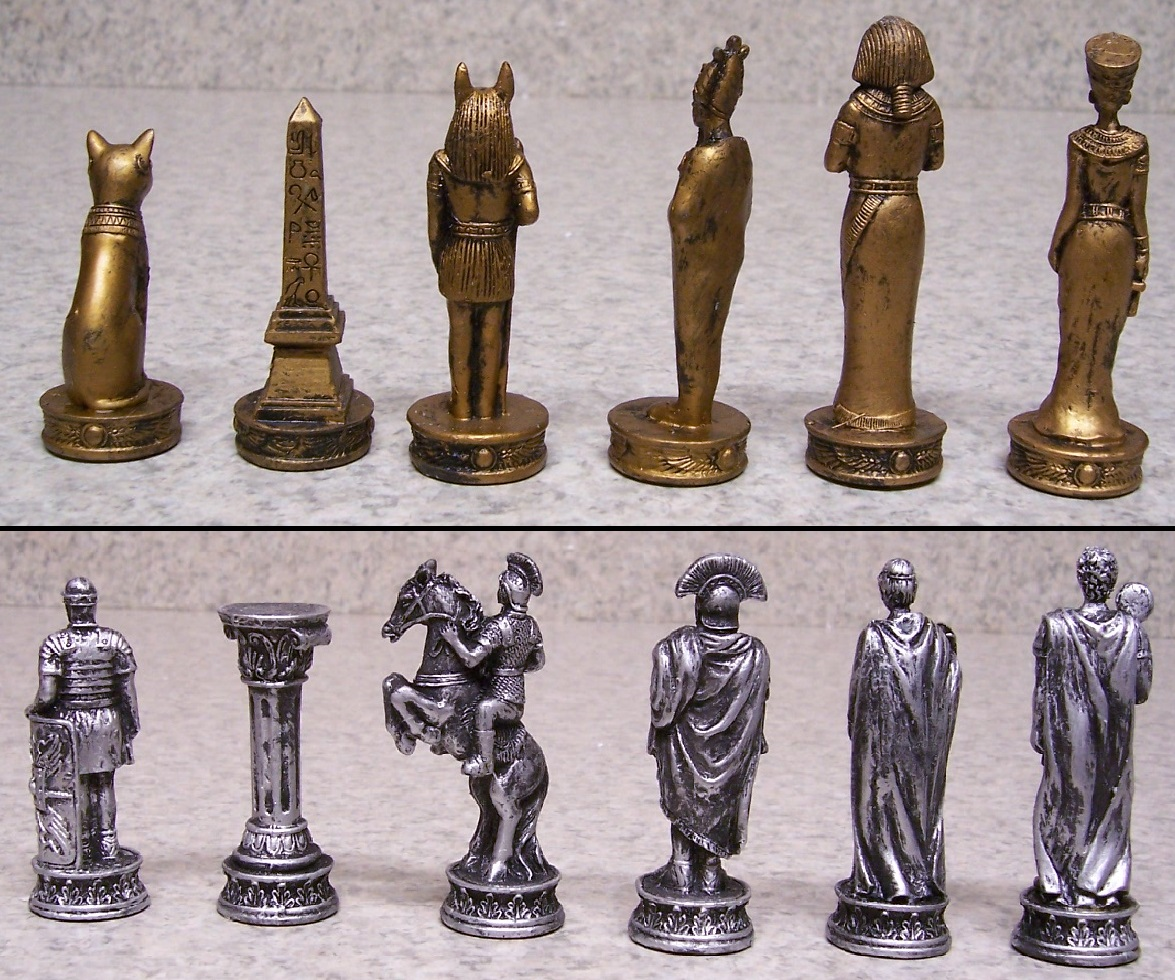Chess Set With Glass Board Egypt Vs Rome New 3 1 2 Kings