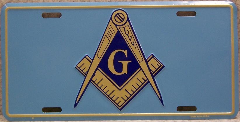 Aluminum License Plate Freemasonry Masonic Mason Symbol New Light