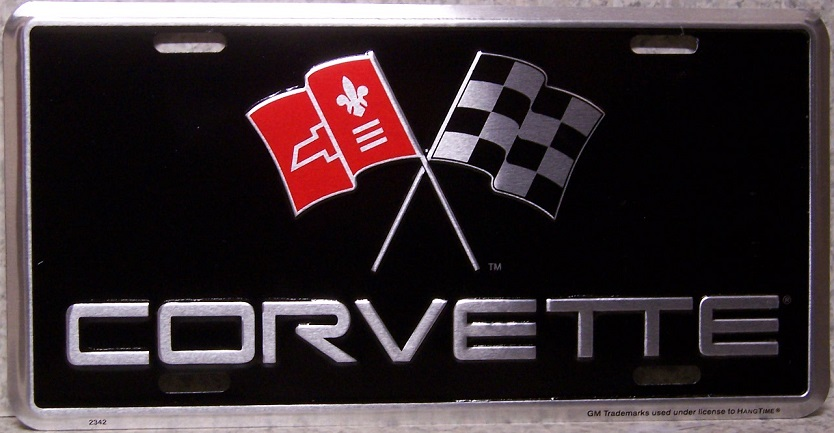 Corvette With Flags License Plate