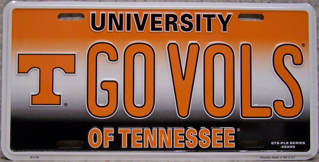 Details about NCAA Aluminum License Plate Tennessee Volunteers NEW GO VOLS  Made in USA