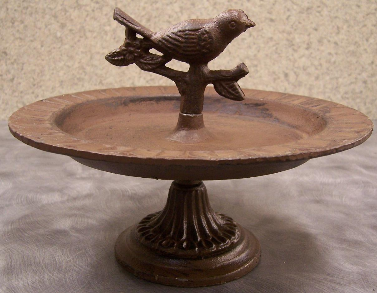 Details About Bird Feeder Stand Weathered Cast Iron Antique Rust New