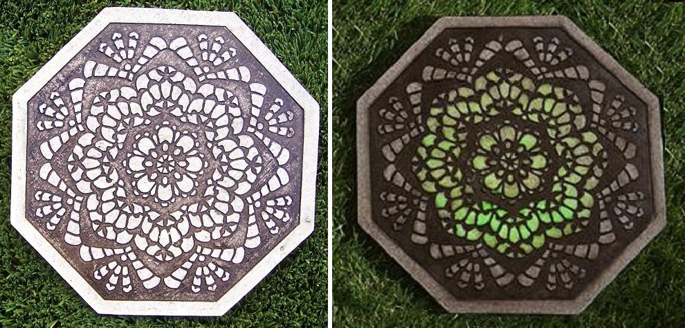 "Garden Path Stepping Stone Glow in the Dark Geometric round NEW 10/"""