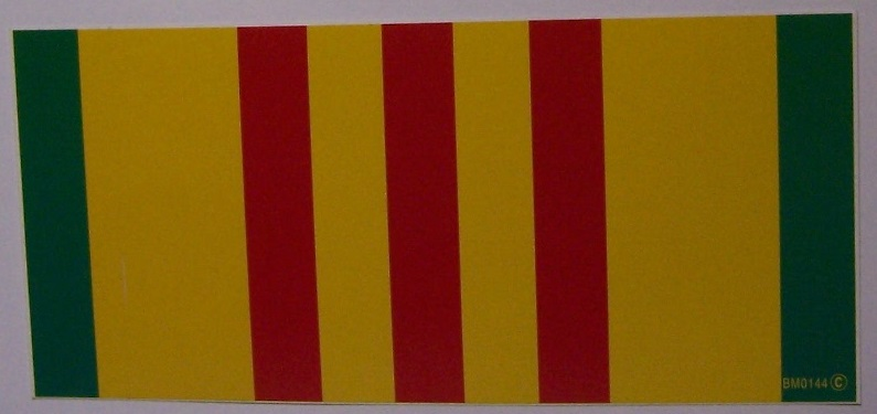 "Vietnam Service Ribbon 5.5/"" x 0.646/"" Five Pack Decal Sticker"