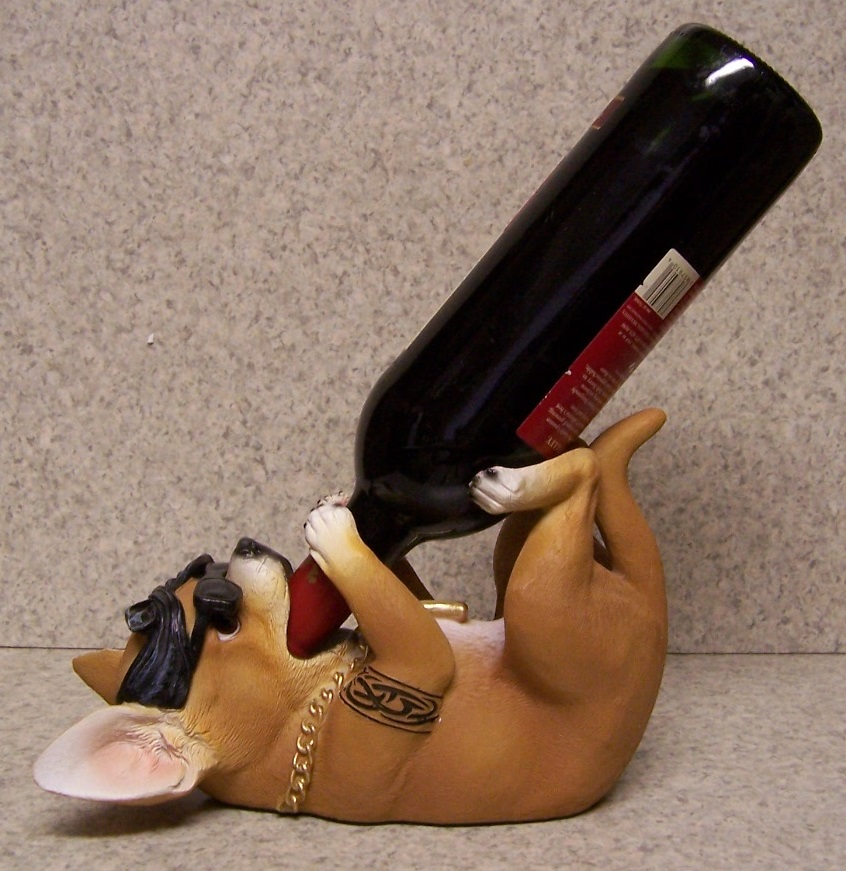 Details About Wine Bottle Holder And Or Decorative Sculpture Dog Homey Chihuahua New