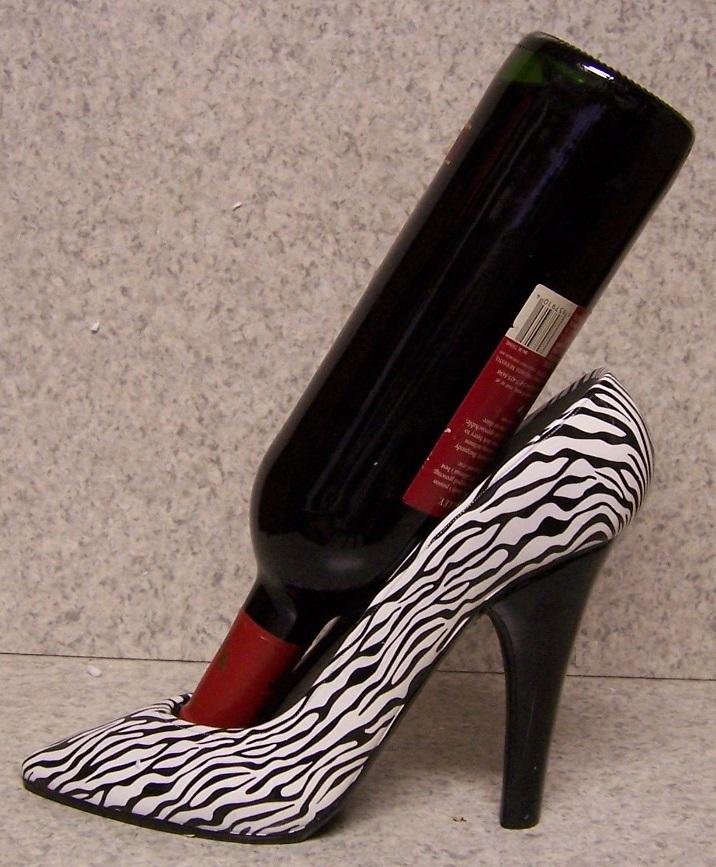 Lionheart Designs International Zebra Party Shoe Wine Bottle Holder Worldwide Shipping