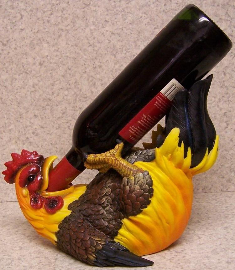 Decorative Wine Bottle Holder Unique Wine Bottle Holder Andor Decorative Sculpture Yellow Rooster New Design Decoration