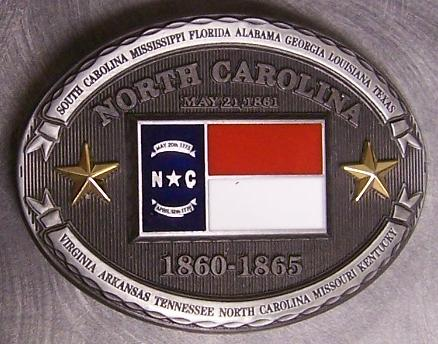 Pewter Belt Buckle State of North Carolina colored NEW