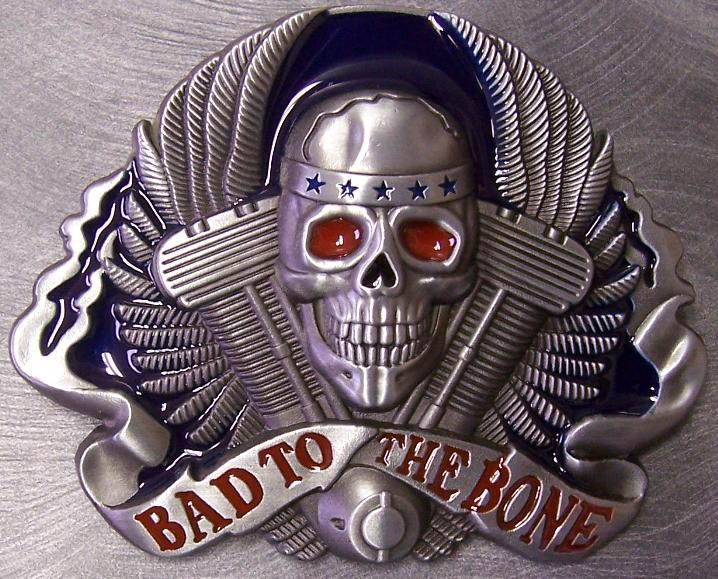 Pewter Belt Buckle Motorcycle Bad to the Bone NEW