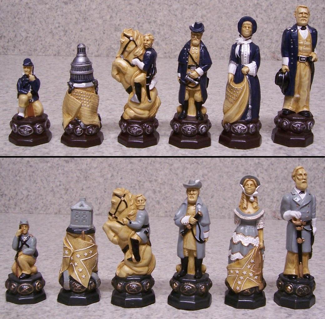 Chess Set Pieces Civil War U S Grant Vs Robert E Lee New