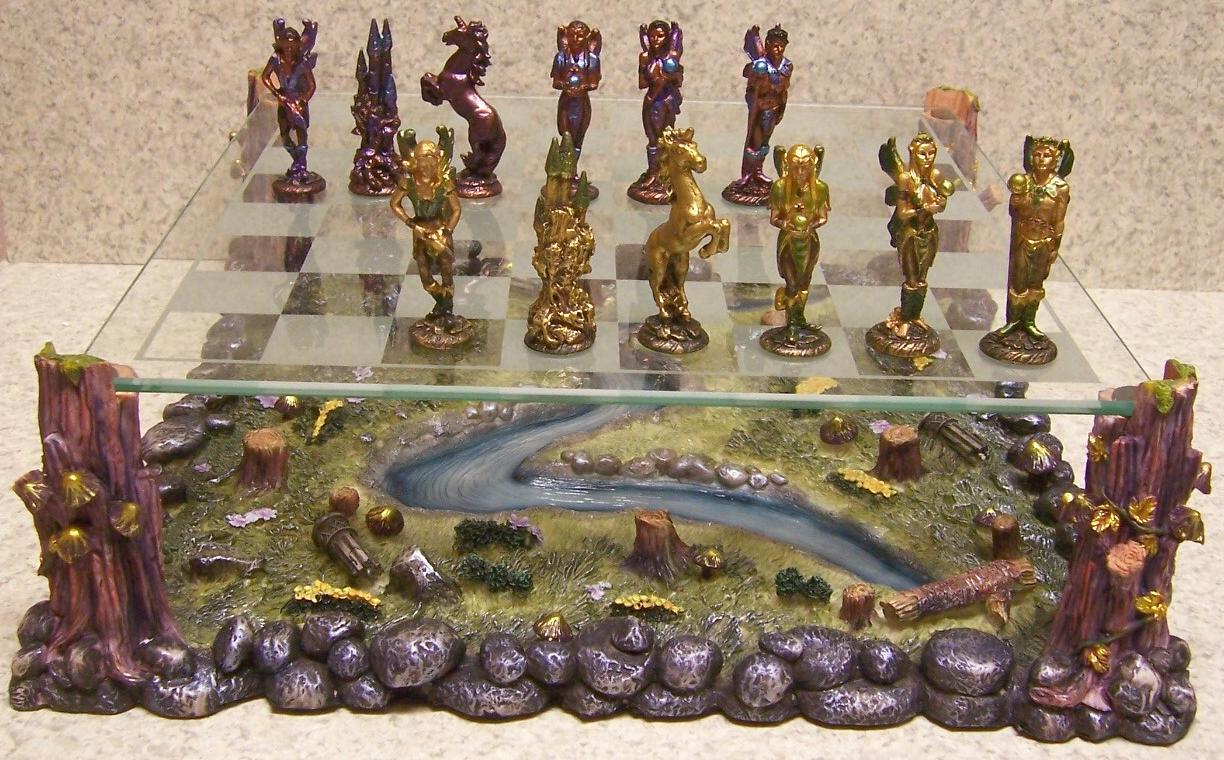 Chess Set With Glass Board Pewter Mystical Fairies New Ebay