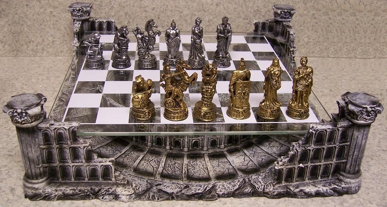 Chess Set With Glass Board Themed Polyresin Platform Pewter Roman Gladiators New Ebay