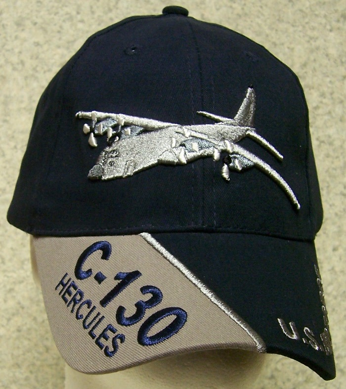 56eae2c4b95 Embroidered Baseball Cap Military Airplane C-130 Hercules NEW USAF 1 ...